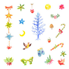 Collection of little watercolor Christmas elements.