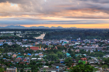 Landscape of  little town in countryside of Thailand.