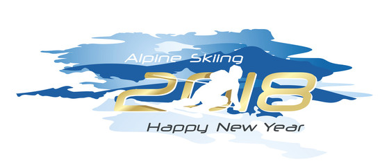 Alpine Skiing 2018 Happy New Year logo icon watercolor blue white background