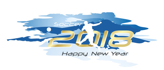 Soccer 2018 Happy New Year logo icon watercolor blue white background