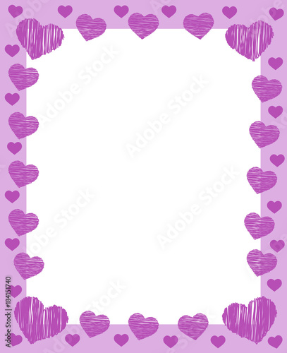 pink valentines frame border with many pink hearts and place for ...