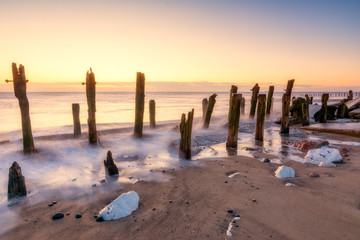 Spurn Point beach in East Yorkshire at Sunrise