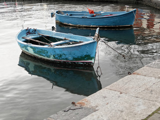 old blue fishing boat