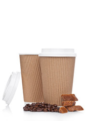 Cappuccino Coffee paper cup with beans and caramel