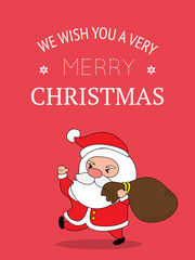 Cute Santa Claus Christmas Greeting Card.