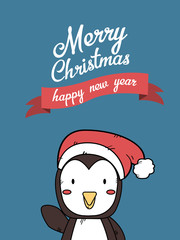 Cute Penguin Christmas Greeting Card.
