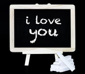 I love you symbol on blackboard
