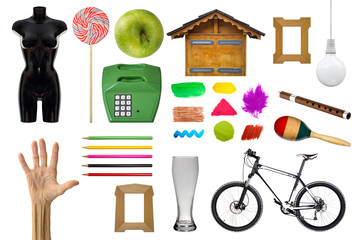 Group of various object isolated on the white