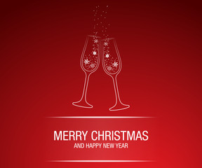 Merry Christmas and Happy New Year greeting card. Modern elegant. champagne glass