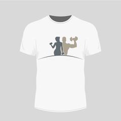 Men s white t-shirt - gym icon