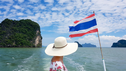 Woman on the boat trip in Phang Nga in Phuket