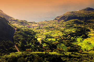 Wall Mural - Idyllic landscape on Flores Island, Azores, Portugal, Europe