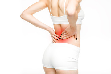Back pain, woman with backache on white background