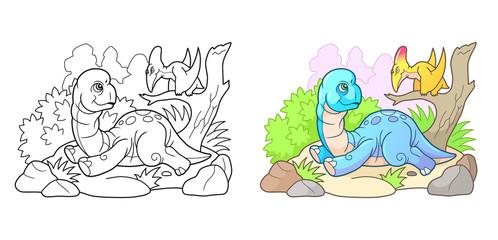 cartoon cute brachiosaurus, funny illustration