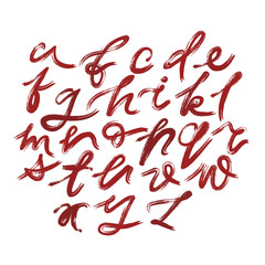 Vector set of lowercase handwritten expressive letters with unpainted areas drawn by semi-dry brush.