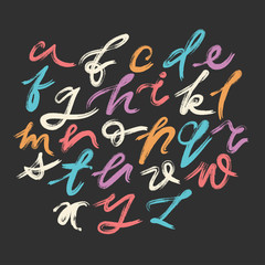 Vector set of colorful lowercase handwritten expressive letters with unpainted areas drawn by semi-dry brush.