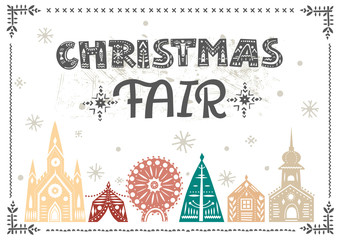 """Vector lettering """"Christmas Fair."""" Black letters with folk patterns and fairy-tale color winter city. For flyers, horizontal posters, invitations."""