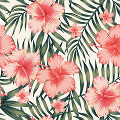 hibiscus pink palm leaves dark green pattern