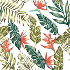 Palm leaves tropical flowers seamless white background