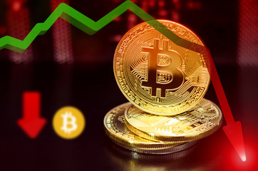 Bitcoin. Unstable bitcoin concept. Exchange rate depreciation. Red backlight symbolizing the danger.