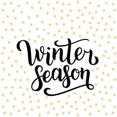 Winter season hand drawn lettering isolated on white background with golden stars. Vector illustration. Use for greeting cards, posters, banners and flyers. Xmas design