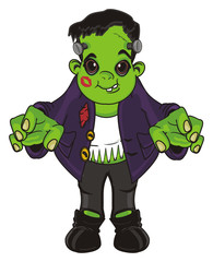 frankenstein, halloween, holiday, man, monster, green, zombie, cartoon, illustration, scare, kiss