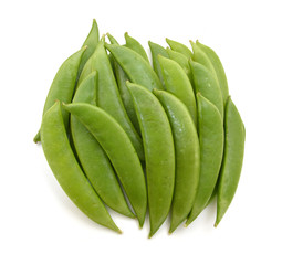 Pods of green peas sweet, isolated on a white background