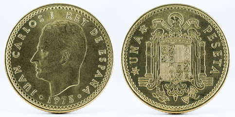 Old Spanish coin of 1 peseta, Juan Carlos I. Coined in copper. Year 1975, 1978 in the stars.