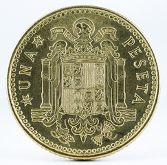 Old Spanish coin of 1 peseta, Juan Carlos I. Coined in copper. Year 1975, 1978 in the stars. Reverse.