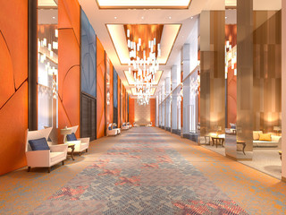 Main lobby reception and corridors , 3d rendering