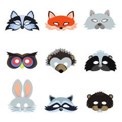 Set of animal masks icons. Vector illustration.