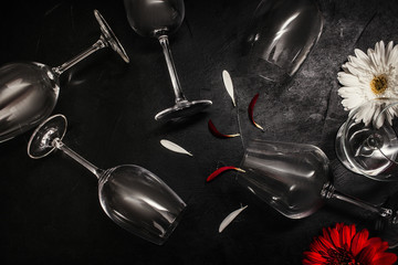 Wine glasses on black background. Creativity art and contrast color concept