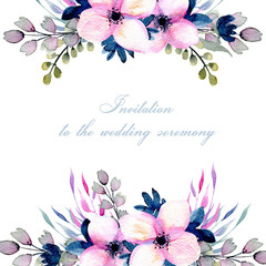 Greeting floral card template with watercolor pink and blue wildflowers and field grasses, hand drawn on a white background, Mother's day, birthday, wedding and other greeting cards