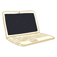 Vector Single White Cartoon Laptop PC
