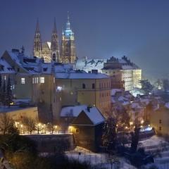 Night Winter  Snowy Prague Castle and Hradcany