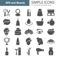 Spa and Cosmetics simple icons set for web and mobile design