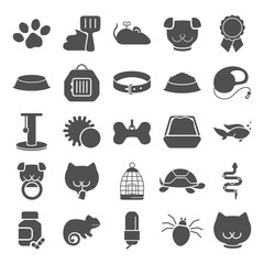 Veterinary shop simple icons set for web and mobile design