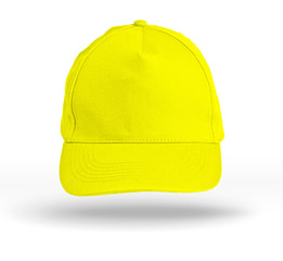 Yellow Baseball Cap on a white background.