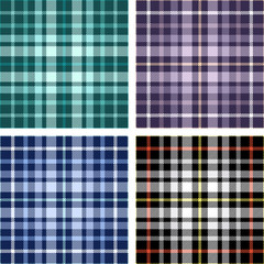 Set of four seamless plaid patterns.