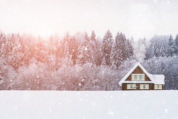 Wooden house with snow on the roof in the background of the forest. Winter wonderland