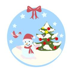 новогодний снеговик , птица, елка