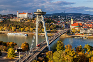 Photo sur Plexiglas UFO Top view of Bratislava, capital of Slovakia