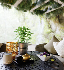 outdoor closeup with table and chairs