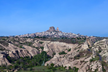 Panorama of Uchisar castle in Cappadocia, Central Anatolia, Turkey