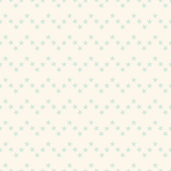 Seamless cute pastel geometrical pattern with little blue stars in zigzag line on beige background. Infinity chevron abstract geometric backdrop. Vector illustration.
