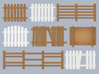 Vector set of wooden fence different forms and color. Isolated detailed design elements.