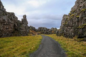 Valley in Thingvellir National Park, Southwestern Iceland