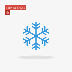 Outline blue snowflake icon isolated on grey background. Christmas pictogram. Line winter symbol for website design, mobile application, ui. Editable stroke.