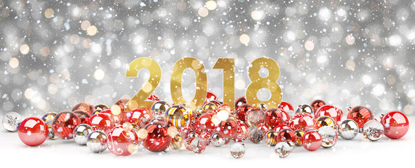 2018 new year eve with christmas baubles 3D rendering