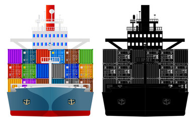 Container ship front view and silhouette, vector isolated